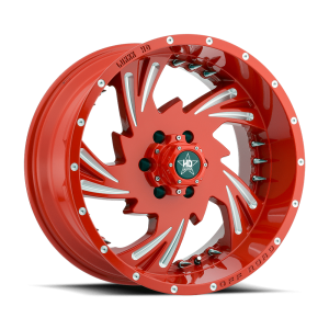 Luxxx HD 7 20X10 Gloss Red Milled with Spikes